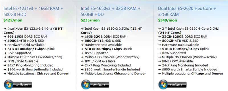 Intel E3 / E5 / Dual E5 Server Hosting